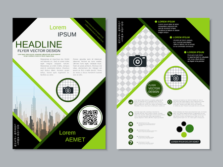 Modern professional two-sided flyer vector design template Banque d'images - 123813061