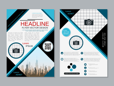 Modern professional two-sided flyer vector design template Banque d'images - 123813063