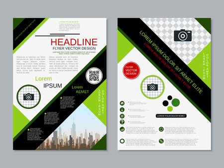 Modern professional two-sided flyer vector design template Banque d'images - 123813064
