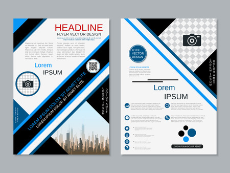 Modern professional two-sided flyer vector design template Banque d'images - 123813121