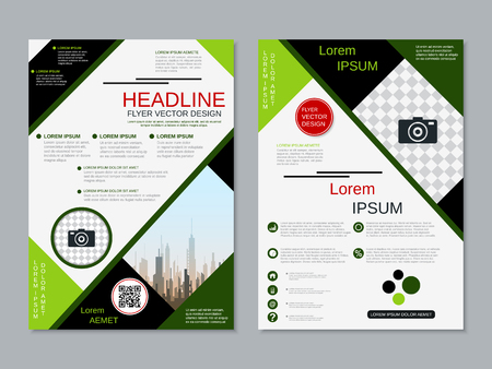 Modern professional two-sided flyer vector design template Banque d'images - 123813125