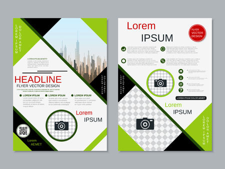 Modern professional two-sided flyer vector design template Banque d'images - 123813126