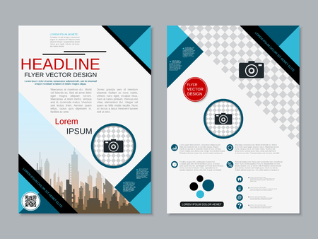 Modern professional two-sided flyer vector design template Banque d'images - 123813128