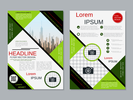 Modern professional two-sided flyer vector design template Banque d'images - 123813129