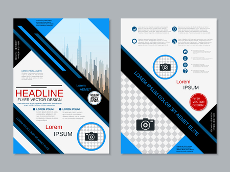 Modern professional two-sided flyer vector design template Banque d'images - 123813131