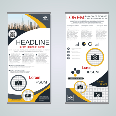 Modern roll-up business banners vector template Banque d'images - 123813133