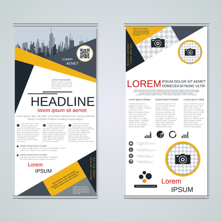Modern roll-up business banners vector template Banque d'images - 123813135