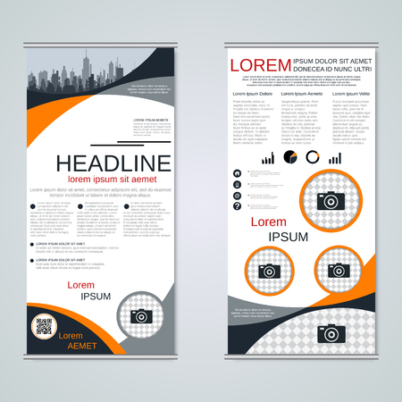 Modern roll-up business banners vector template Banque d'images - 123813144