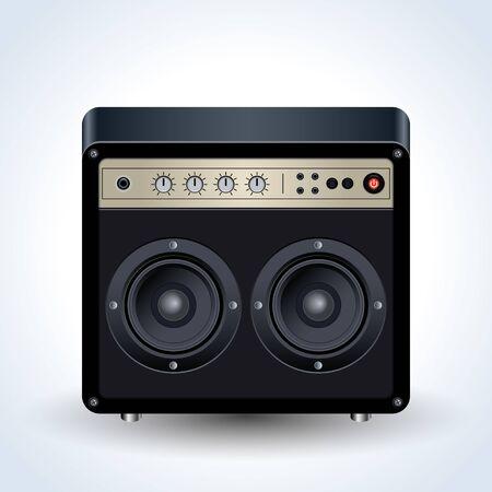Guitar amplifier realistic vector icon
