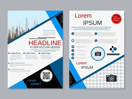 Modern business two-sided flyer, booklet, brochure cover vector design template Illusztráció