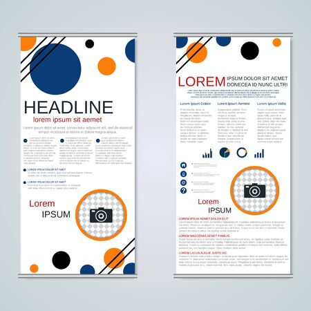 Modern roll-up business banners, two-sided flyer vector design template Hình minh hoạ