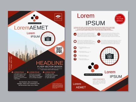 Modern business two-sided flyer, booklet, brochure cover vector design template Banque d'images - 128060048