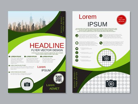 Modern business two-sided flyer, booklet, brochure cover vector design template Banque d'images - 128060053