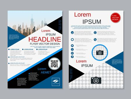 Modern business two-sided flyer, booklet, brochure cover vector design template Banque d'images - 128060056