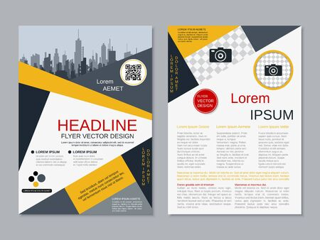 Modern business two-sided flyer, booklet, brochure cover vector design template. A4 format Banque d'images - 128514361