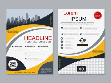 Modern business two-sided flyer, booklet, brochure cover vector design template. A4 format Banque d'images - 128514359