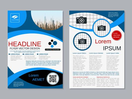 Modern business two-sided flyer, booklet, brochure cover vector design template. A4 format Banque d'images - 128514382