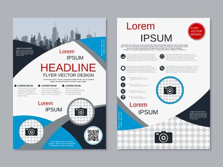 Modern business two-sided flyer, booklet, brochure cover vector design template. A4 format Banque d'images - 128514377