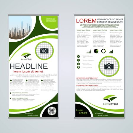 Modern roll-up business banners, two-sided flyer vector design template Banque d'images - 128514384