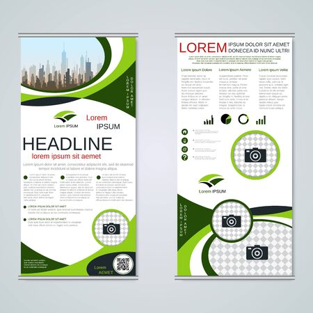 Modern roll-up business banners, two-sided flyer vector design template Banque d'images - 128514389