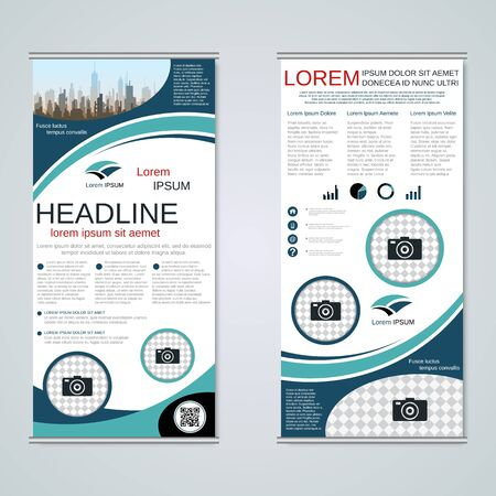 Modern roll-up business banners, two-sided flyer vector design template Banque d'images - 128514390