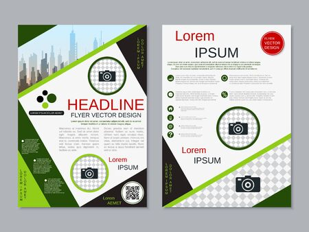 Modern business two-sided flyer, booklet, brochure cover vector design template. A4 format Banque d'images - 128514469