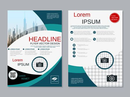 Modern business two-sided flyer, booklet, brochure cover vector design template. A4 format Banque d'images - 128514478