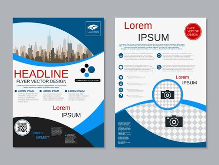 Modern business two-sided flyer, booklet, brochure cover vector design template. A4 format Banque d'images - 128514479