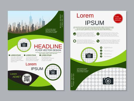 Modern business two-sided flyer, booklet, brochure cover vector design template. A4 format Banque d'images - 128514477