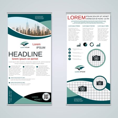 Modern roll-up business banners, two-sided flyer vector design template Banque d'images - 128514476