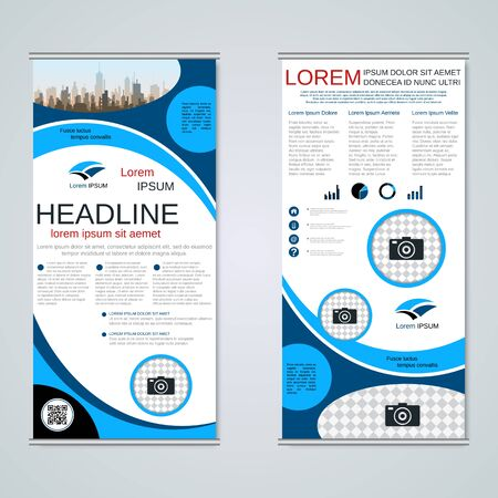 Modern roll-up business banners, two-sided flyer vector design template Banque d'images - 128514475