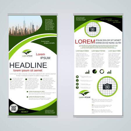 Modern roll-up business banners, two-sided flyer vector design template Banque d'images - 128514486