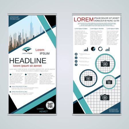 Modern roll-up business banners, two-sided flyer vector design template Banque d'images - 128514485