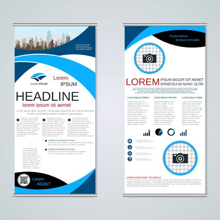 Modern roll-up business banners, two-sided flyer vector design template Banque d'images - 128514481
