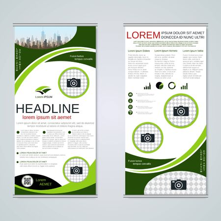 Modern roll-up business banners, two-sided flyer vector design template Banque d'images - 128514484