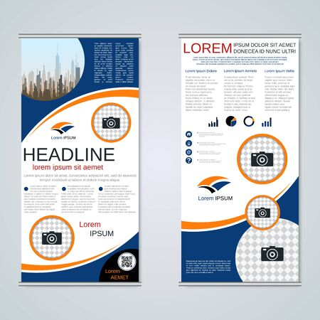 Modern roll-up business banners, two-sided flyer vector design template Banque d'images - 128514487