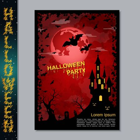 Halloween night flyer, booklet,  poster, invitation card vector design template Banque d'images - 128514670