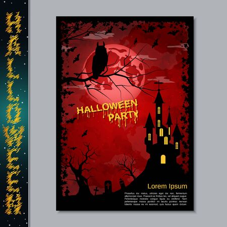 Halloween night flyer, booklet,  poster, invitation card vector design template Banque d'images - 128514669