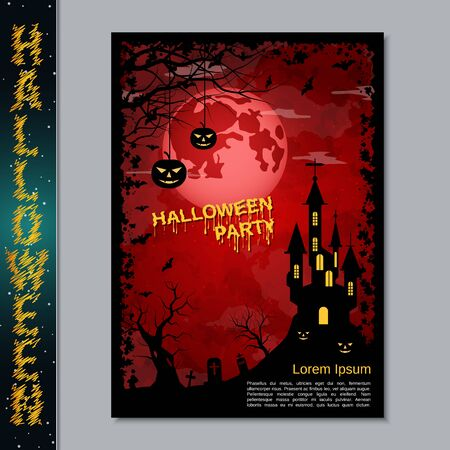 Halloween night flyer, booklet,  poster, invitation card vector design template Banque d'images - 128514654