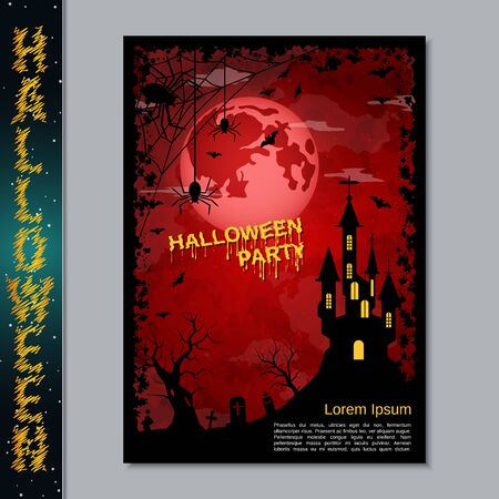 Halloween night flyer, booklet,  poster, invitation card vector design template Banque d'images - 128514667