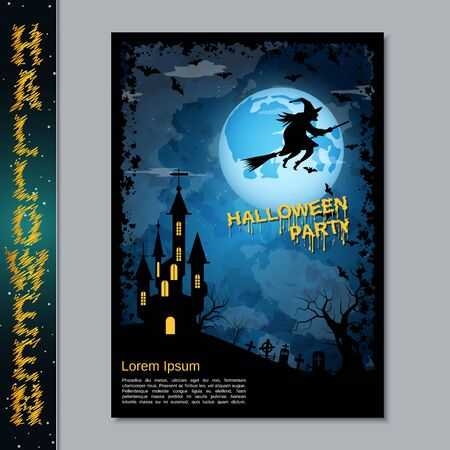 Halloween night flyer, booklet,  poster, invitation card vector design template Illustration