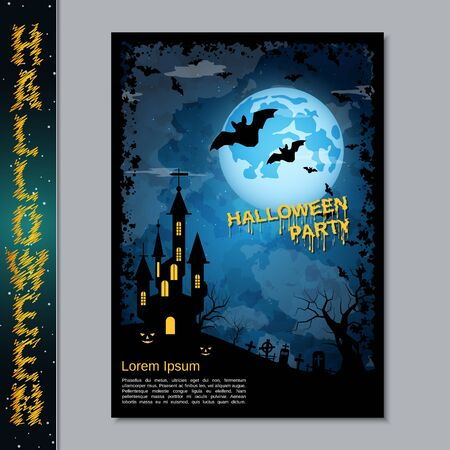 Halloween night flyer, booklet,  poster, invitation card vector design template Banque d'images - 128514684