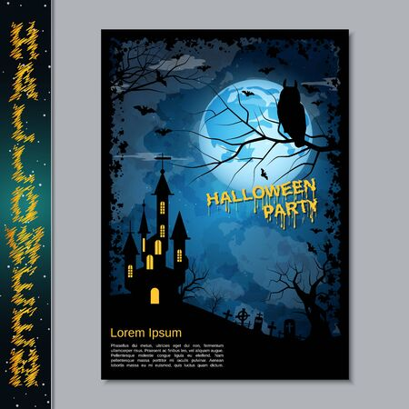 Halloween night flyer, booklet,  poster, invitation card vector design template Banque d'images - 128514680