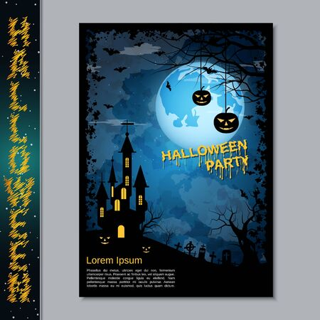 Halloween night flyer, booklet,  poster, invitation card vector design template Banque d'images - 128514683
