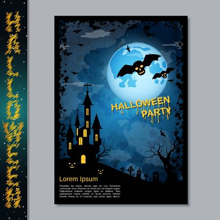 Halloween night flyer, booklet,  poster, invitation card vector design template Vettoriali