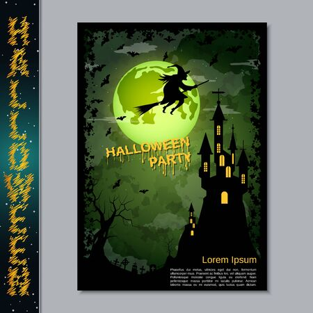 Halloween night flyer, booklet,  poster, invitation card vector design template Banque d'images - 128514674