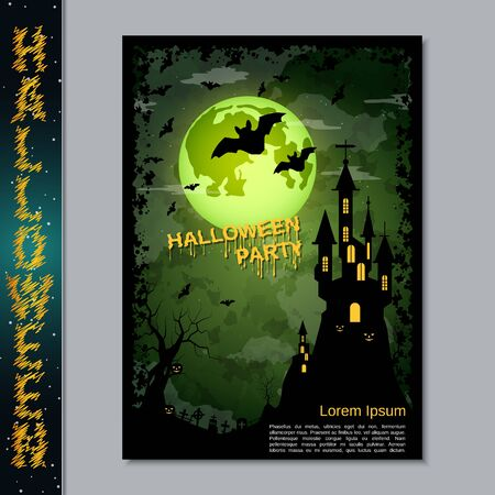 Halloween night flyer, booklet,  poster, invitation card vector design template Banque d'images - 128514694