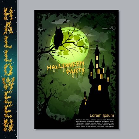 Halloween night flyer, booklet,  poster, invitation card vector design template Banque d'images - 128514693