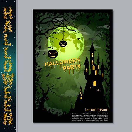 Halloween night flyer, booklet,  poster, invitation card vector design template Banque d'images - 128514688