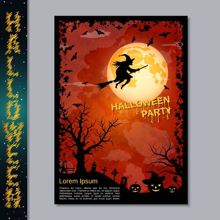 Halloween night flyer, booklet,  poster, invitation card vector design template Banque d'images - 128514691